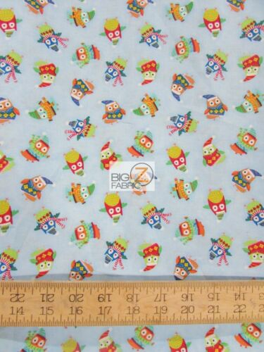 CHRISTMAS OWLS TOSS BLUE BY TIMELESS TREASURES COTTON FABRIC FH-2956 BY THE YARD