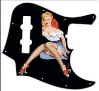 J Jazz Bass Pickguard Custom Fender Graphical Guitar Pick Guard Pin Up Girl 2 BK