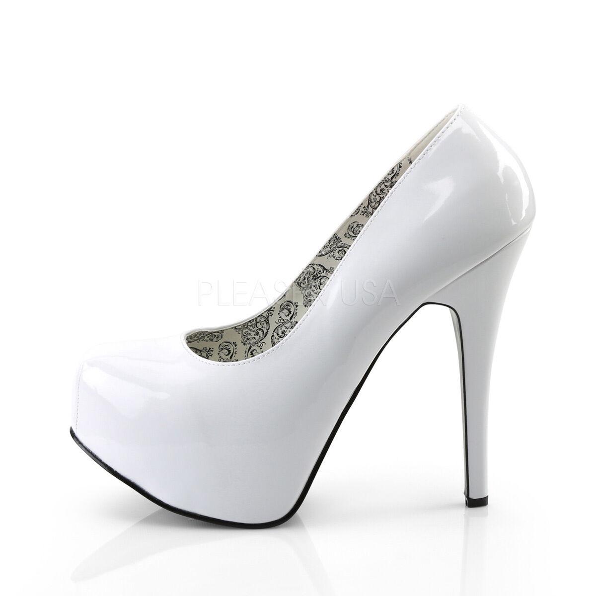 Teeze Weiß Patent Wide Width Stiletto High Heel Platform Pump schuhe Größe 11-16