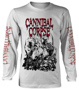 Cannibal-Corpse-039-Pile-Of-Skulls-2018-039-White-Long-Sleeve-Shirt-NEW-amp-OFFICIAL