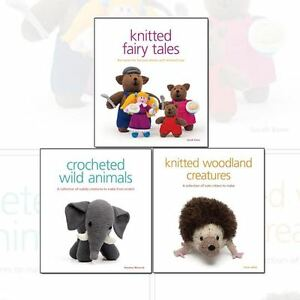 Knitted Collection Crocheted Wild Animals 3 Books Set Pack Fairy