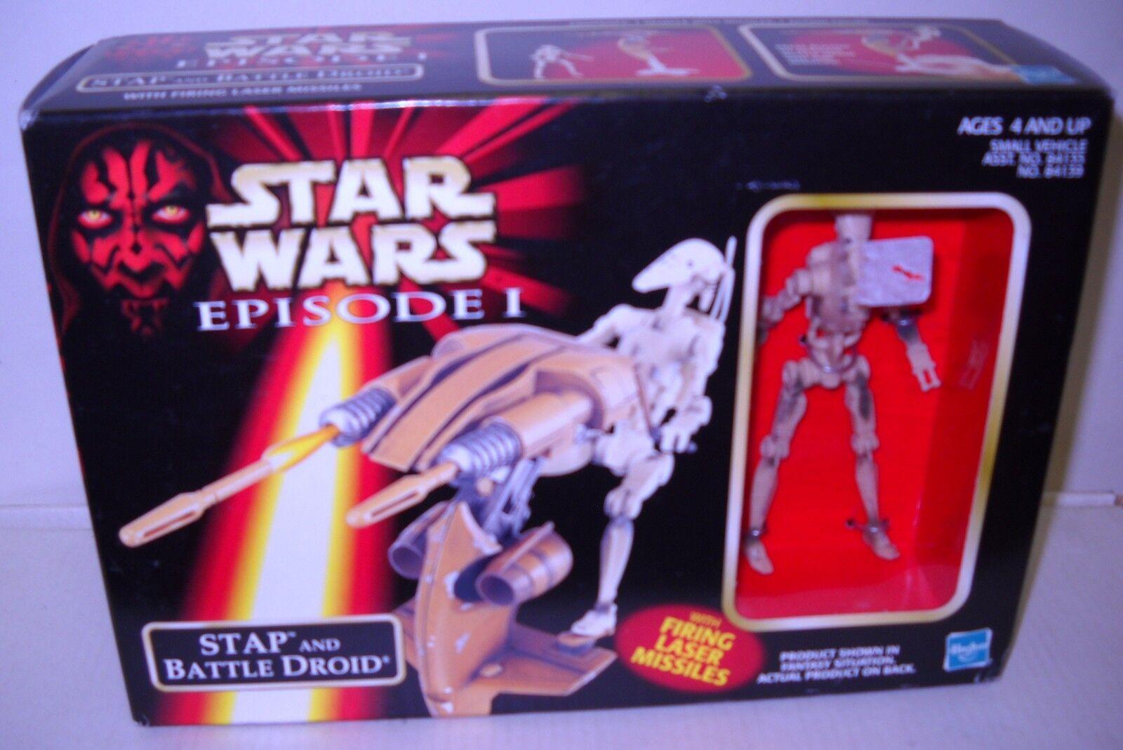 4713 NRFB Hasbro Star Wars Episode I Stap & Battle Droid Figure