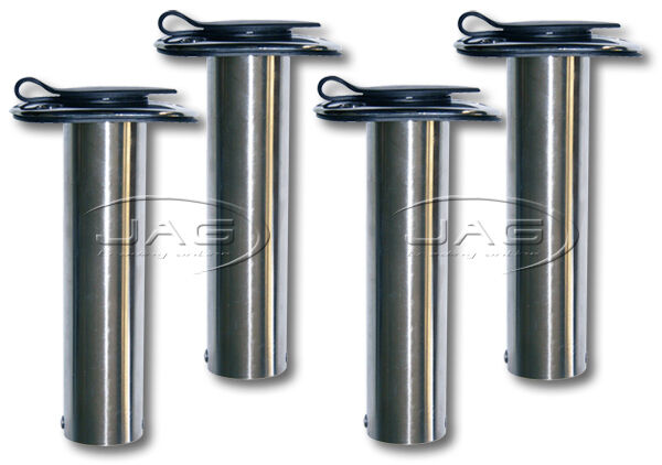 4 x 316 316 316 MARINE GRADE STAINLESS STEEL 90° STRAIGHT BOAT FISHING ROD HOLDERS+ CAPS 266816