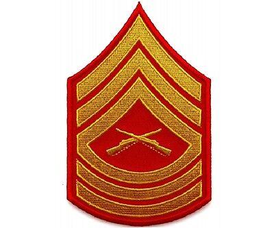 "5815D USMC MASTER SERGEANT CHEVRON 3/"" x 4.7/"" iron on patch G20 Military"