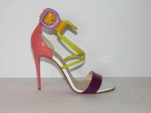 info for 8e74f 7061b Details about AUTHENTIC CHRISTIAN LOUBOUTIN NEW 37.5 CHOCA 100 MULTI PATENT  SANDALS HEELS