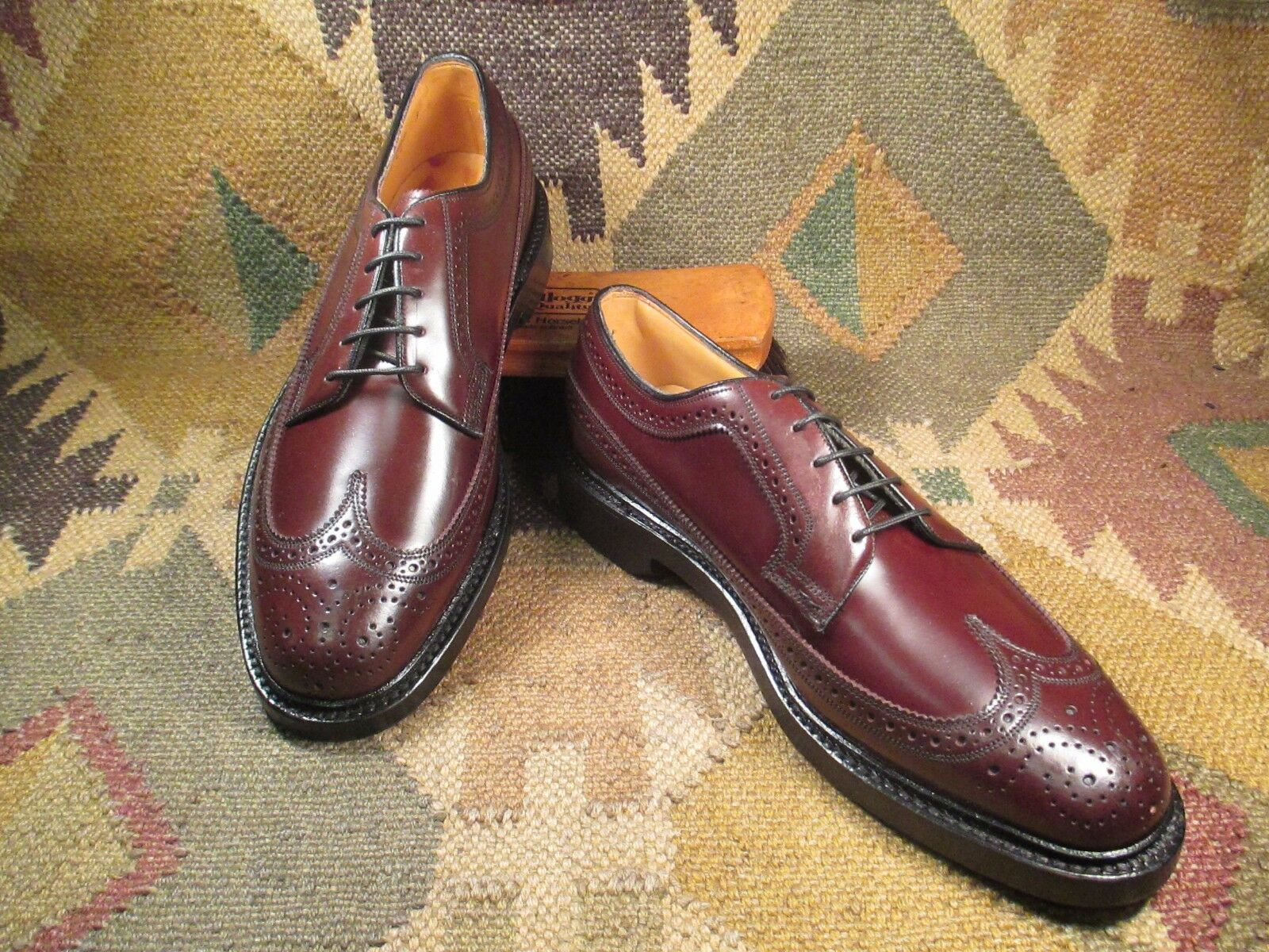 NEW FLORSHEIM IMPERIAL SHELL CORDOVAN BROGUE SIZE  A - 7 D MADE IN  A