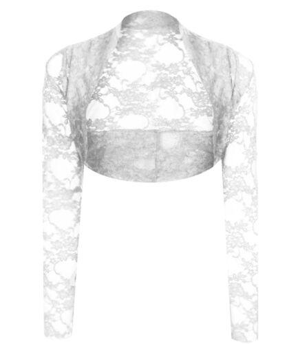 Long Sleeve Lace Shrug Womens Bolero Cropped Cardigan Top Ladies Size 8-22