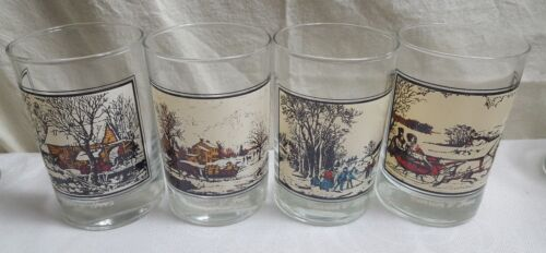 1981 Set of 4 Currier & Ives Arby's Winter 4.5 Collector Series Glasses MINT