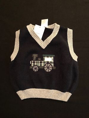NWT Gymboree HOLIDAY TRAINS Navy Train Sweater Vest 3-6