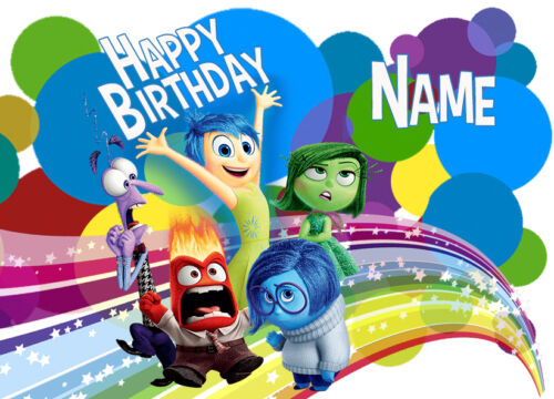 Inside Out Personalised Edible REAL Icing Image Birthday Cake Topper Large A4