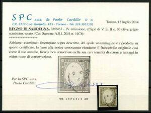 Sardegna-1858-Sass-14Cb-Usato-100-Cardillo-Certificato