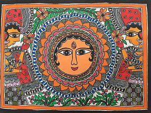 Original-Madhubani-Mithila-Paintings-Green-Goddess-Handmade-Indian-Folk-Art