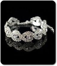 Armband Kette Kristall Strass Versilbert Armeife Hochzeit Braut Silber/Klar