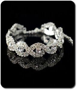 Bescheiden Luxus Armband Kette Kristall Strass Armeife Hochzeit Braut Silber/klar Attraktive Mode