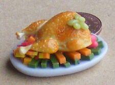 1:12 arrosto di Tacchino Arrosto su un piatto in ceramica Casa delle Bambole Miniatura Accessorio di carne