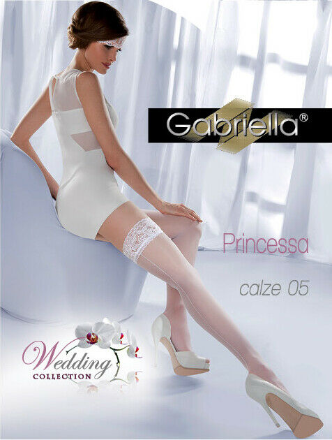 Gabriella Princessa 189 Xs-l Nylon Bas Chaussettes Halterlose Blanc 20den Bas