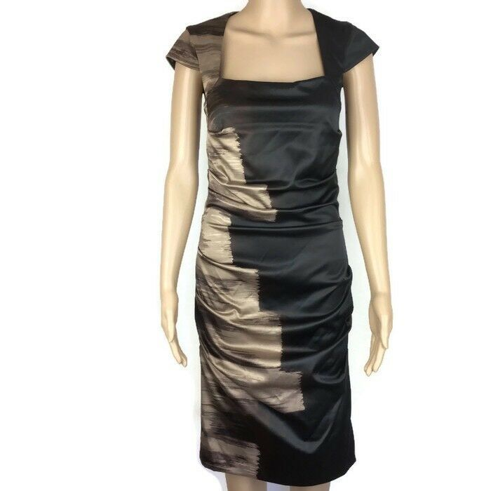 Le Chateau Dress schwarz braun Grandeur Bodycon Rouched Größe 5P RRP NWT AP3
