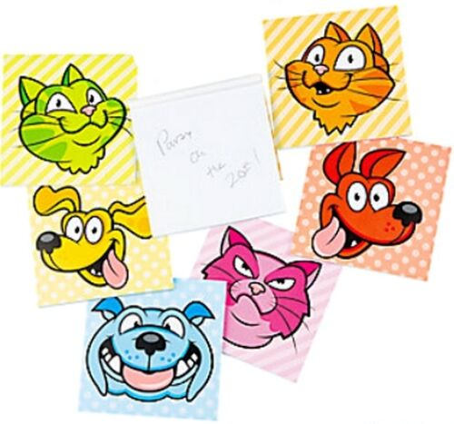 Pack de 6-comique chien /& chat bloc-notes-fête sac remplissage