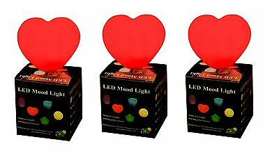 3 X Heart Mood Light Colour Changing LED Night Lamp UK