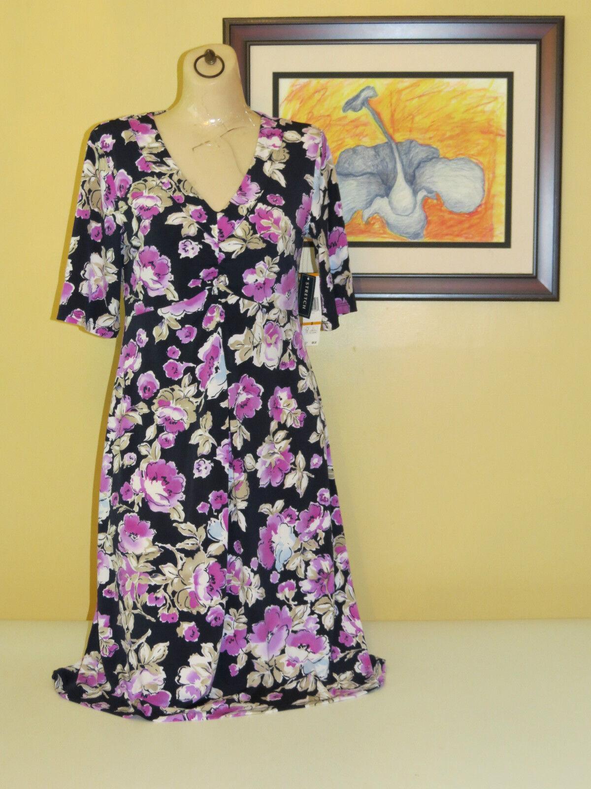 Jones New York Signature Womens Floral 3 4 Sleeve Stretch Dress small  S