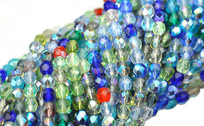 100 Multi AB Mix Faceted Round Glass Beads 4MM