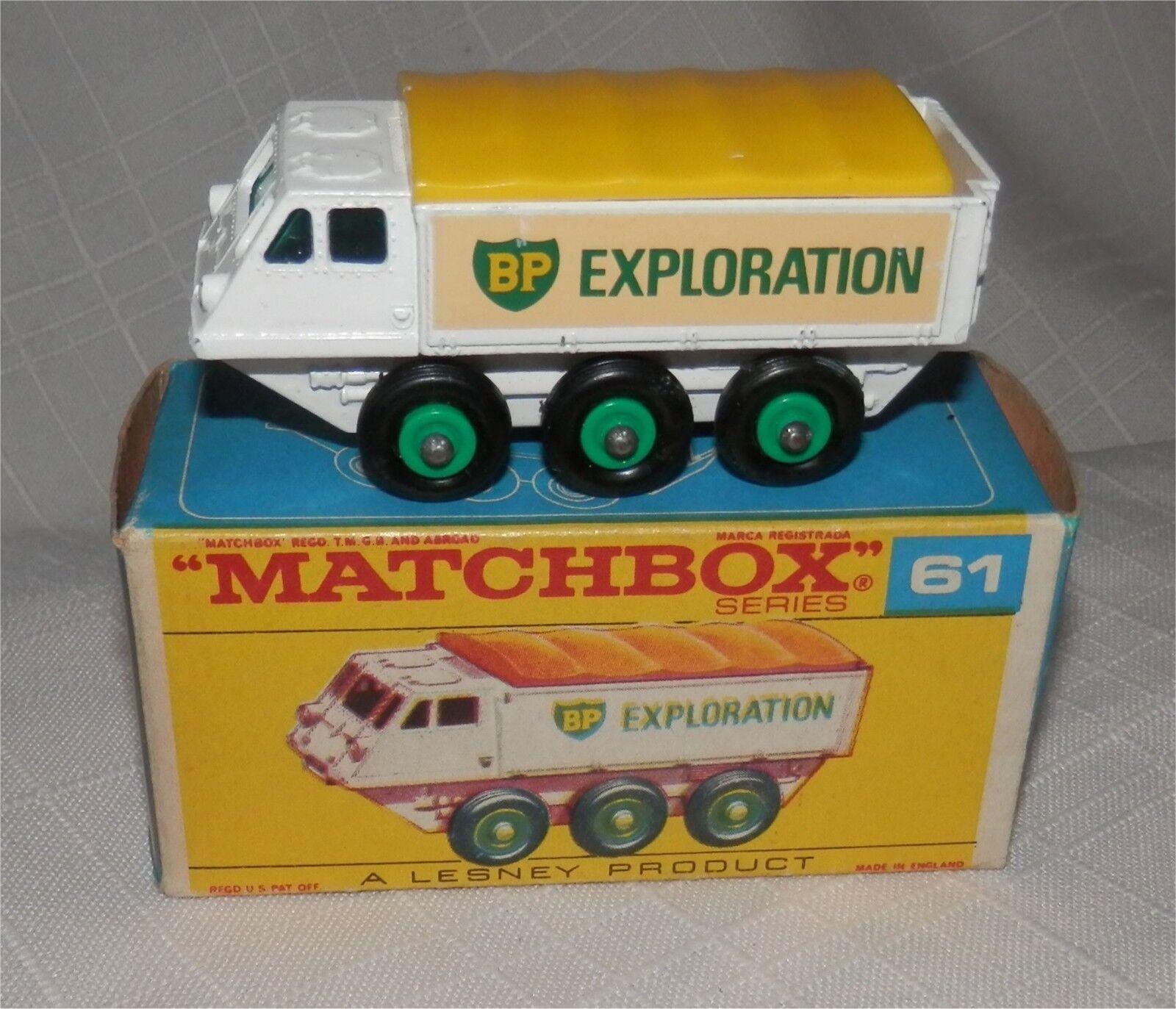 1960 s. MATCHBOX. LESNEY .61 BP Exploration Alvis Stalwart. Comme neuf in F box, original | De Nouveau Modèle