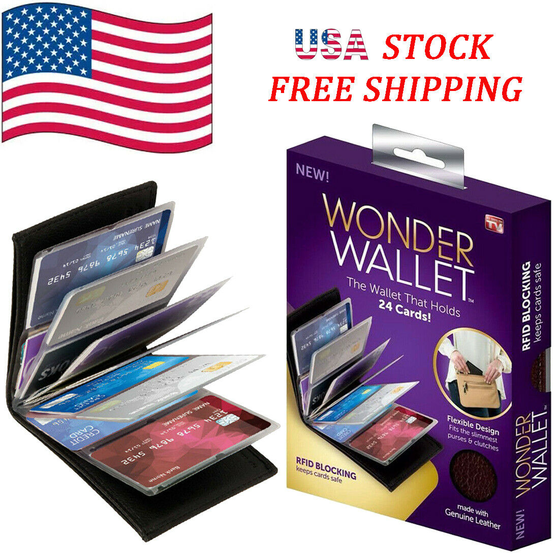 USA Original Wonder Amazing Slim Thin RFID Wallets As Seen on TV Black Leather