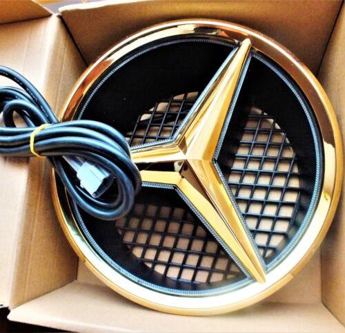 24ct Gold Plated White LED Light Front Grille Badge Emblem Star For Mercedes 24K