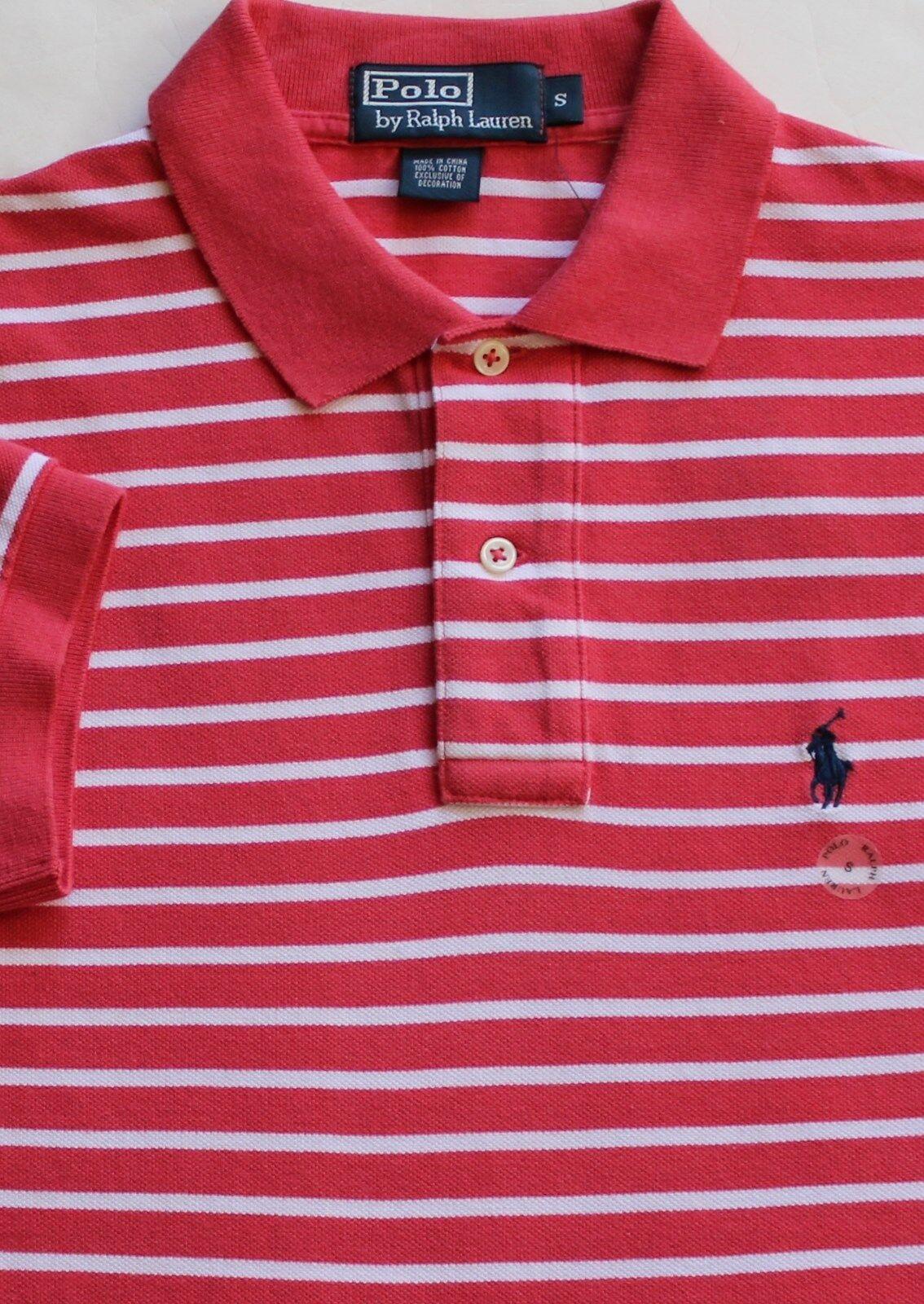 New Polo Ralph Lauren Raspberry Red Striped Cotton Mesh Polo Shirt   Medium