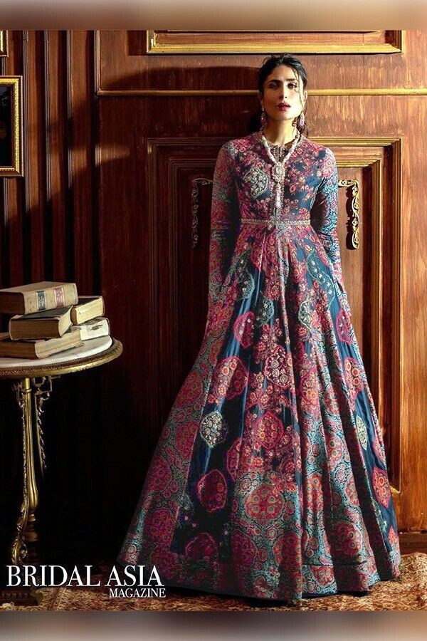 New Indian Bollywood Asian Stylish Italian silk Long Gown Party Occasion Wear MB