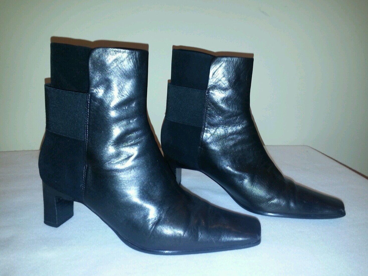 J. Renee black genuine leather ankle boots, elastic back, 7.5M
