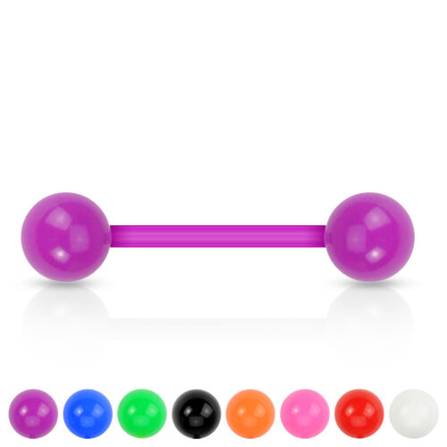 "1 PAIR 14g 5//8/"" Tongue Nipple Barbell Bioflex Neon Colors Acrylic 6MM Ball 2 PCS"