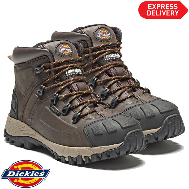 Dickies FD23310 Medway Sicurezza Stivali in Pelle Punta in Acciaio Thinsulate Marrone Size - 10