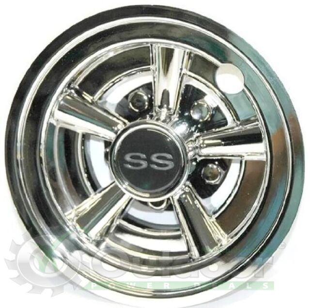 Golf Cart White SS Wheel Covers Hub Caps Yamaha Club Car Ez-go Par ... a4f8bc10a03