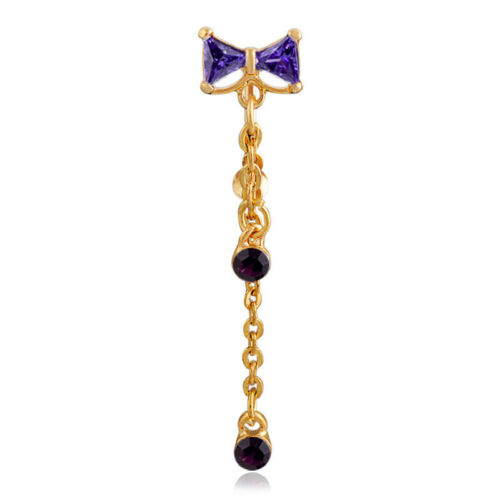 Sale Gold /& Silver Crystal Navel Ring CZ Top Drop Bow Belly Bar  Dangle