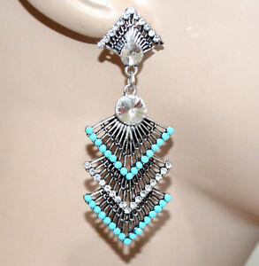 ORECCHINI-donna-etnici-argento-strass-trasparenti-perline-azzurre-ragazza-G7