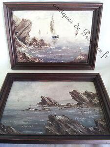 DéTerminé Superbe Paire Ancien Peintures Tableaux Marines Bord De Mer Signé Cadre Bois