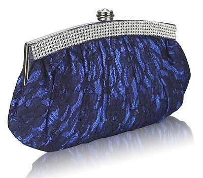 Ladies Lace Evening Bag Clutch Handbag Shoulder Diamante Jewelled Wedding Party