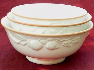 CWC Art Pottery Nesting Bowls w 3D Fruits & Terra Cotta Rims - Set ...