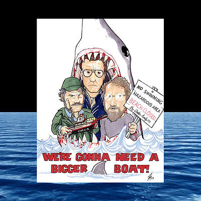 New JAWS POSTER ART, great white, shark fishing QUINT Amity Island HOOPER movie