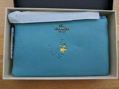 NWT Coach X Peanuts snoopy Crossbody ocean blue woodstock wristlet bag