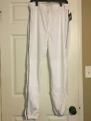Actief Russell Baseball Adult Pant Size L White Black Piping 236dbmp Nwt Elastic Cuffs