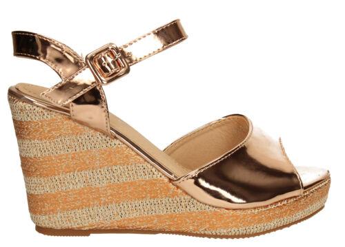 Womens Raffia Wedge Ankle Heel Peep Toe Summer Sandal Ladies Rose Gold Silver