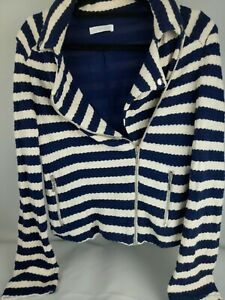 Promod-Striped-Knitted-Biker-Style-Jacket-Sz-Medium
