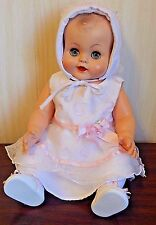 """Unmarked Vintage 19"""" All Vinyl Drink/Wet Baby Doll w/Molded Hair, Pink Dress"""