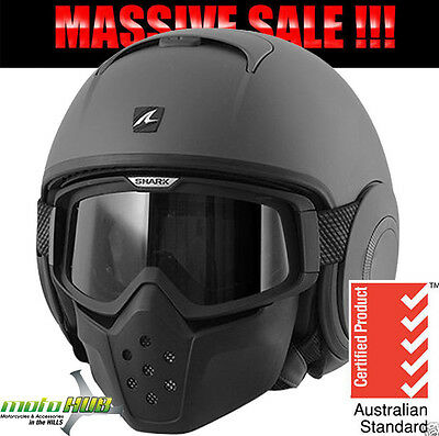 SHARK Metro Division Raw Matte Black Motorcycle RoadBike Helmet Open Face Riding