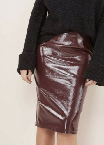 Faux Leather Pvc Shiny Pencil Skirt- Back Split- Berry- Size 14