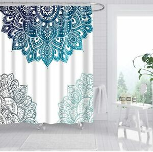 FLORAL SHOWER CURTAIN SET BATHROOM DECOR WITH 12 HOOKS 71IN HOME DECOR USA