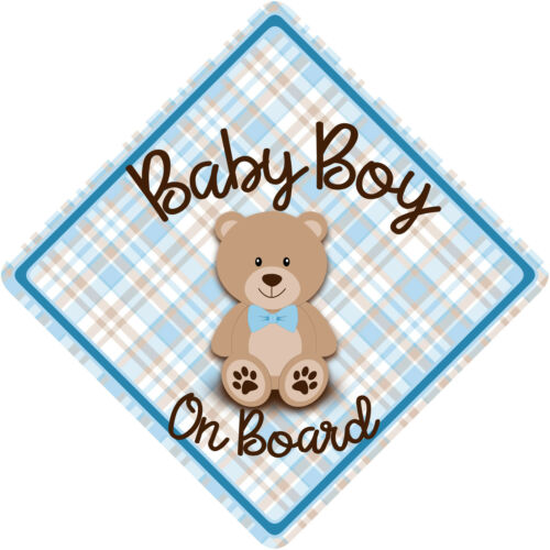 Non Personalised Baby on Board Car Sign Teddy Bear Blue Check /& Brown