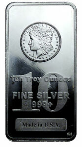 Morgan Dollar Design 10 Oz 999 Fine Silver Bar Made In